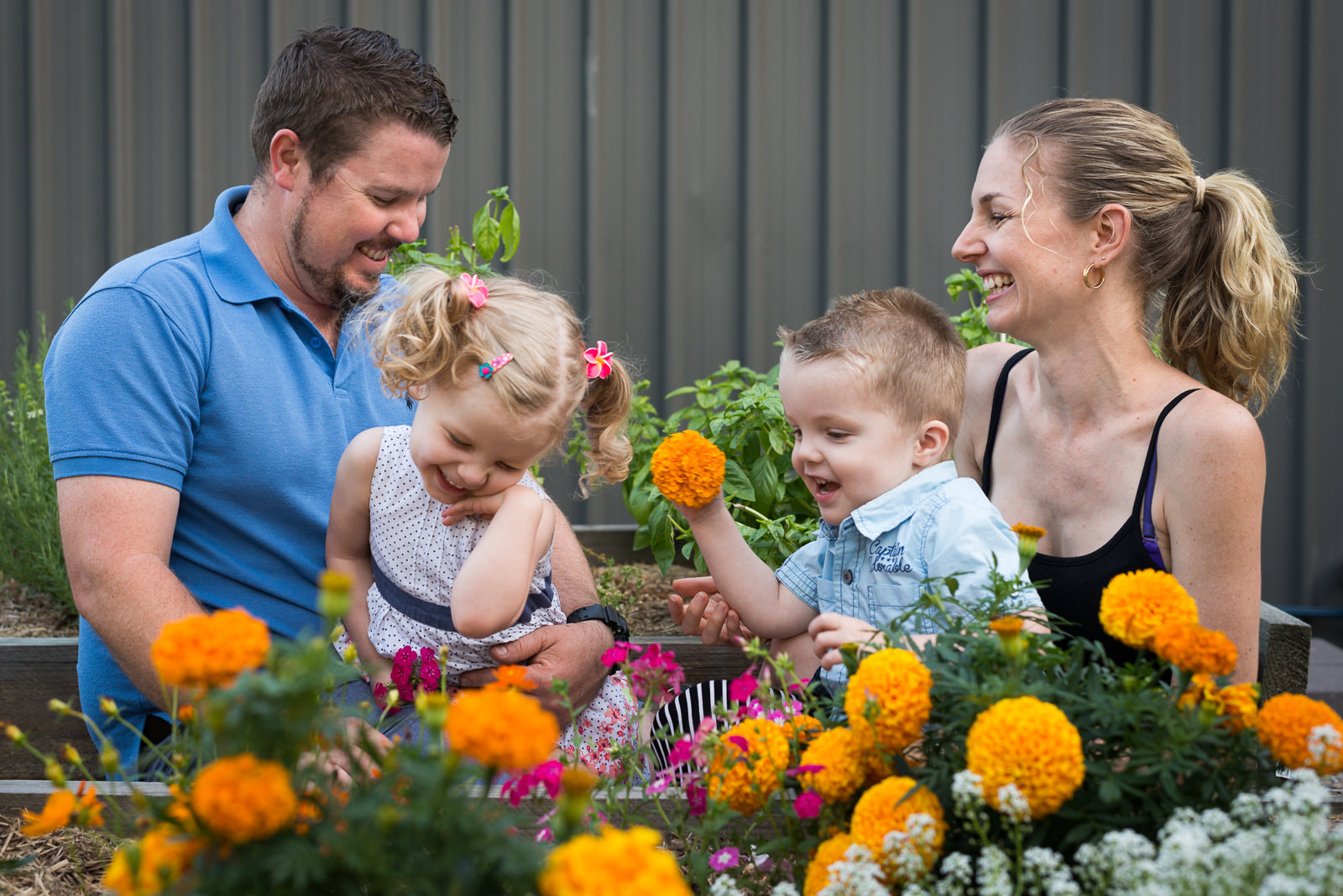 candid family portrait of parents and children in their backyard garden at home in Elimbah