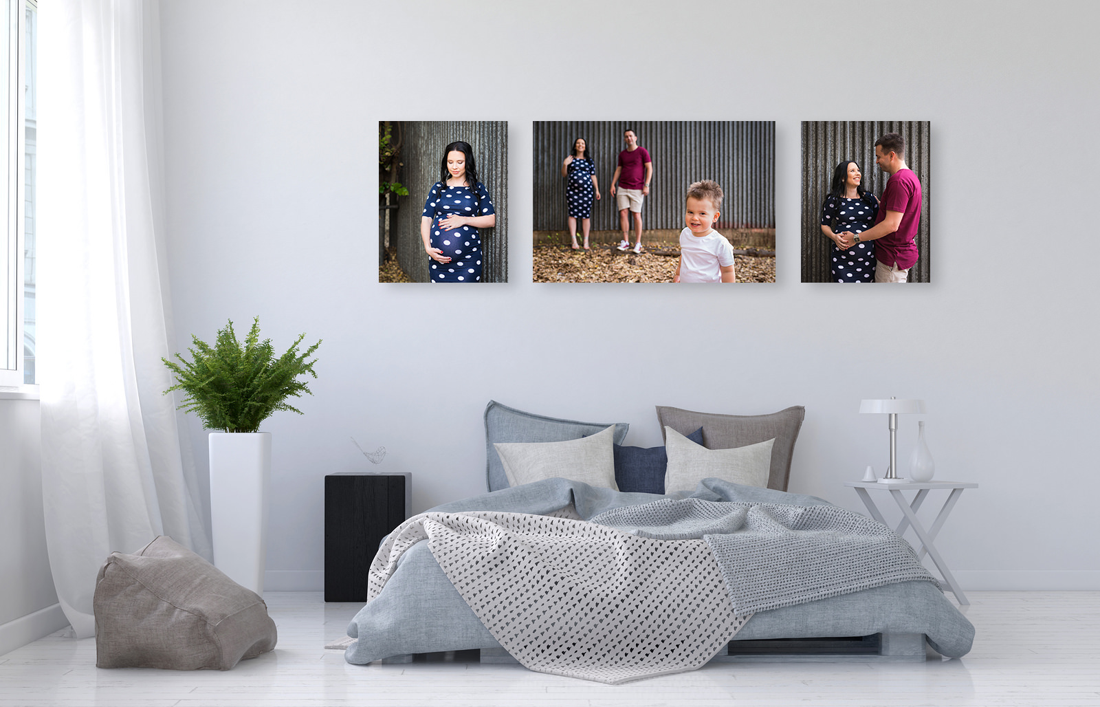 trio of family photos on canvas displayed above bed head on bedroom wall
