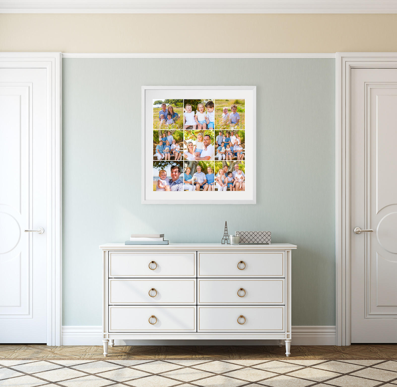 Framed wall art with 9 images hanging on wall above dresser in bedroom