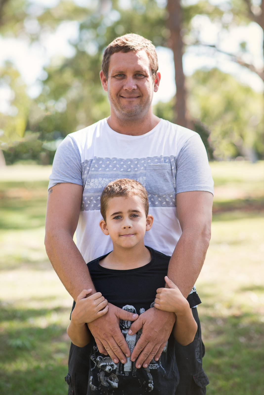 Portrait of Father and son in beachmere park