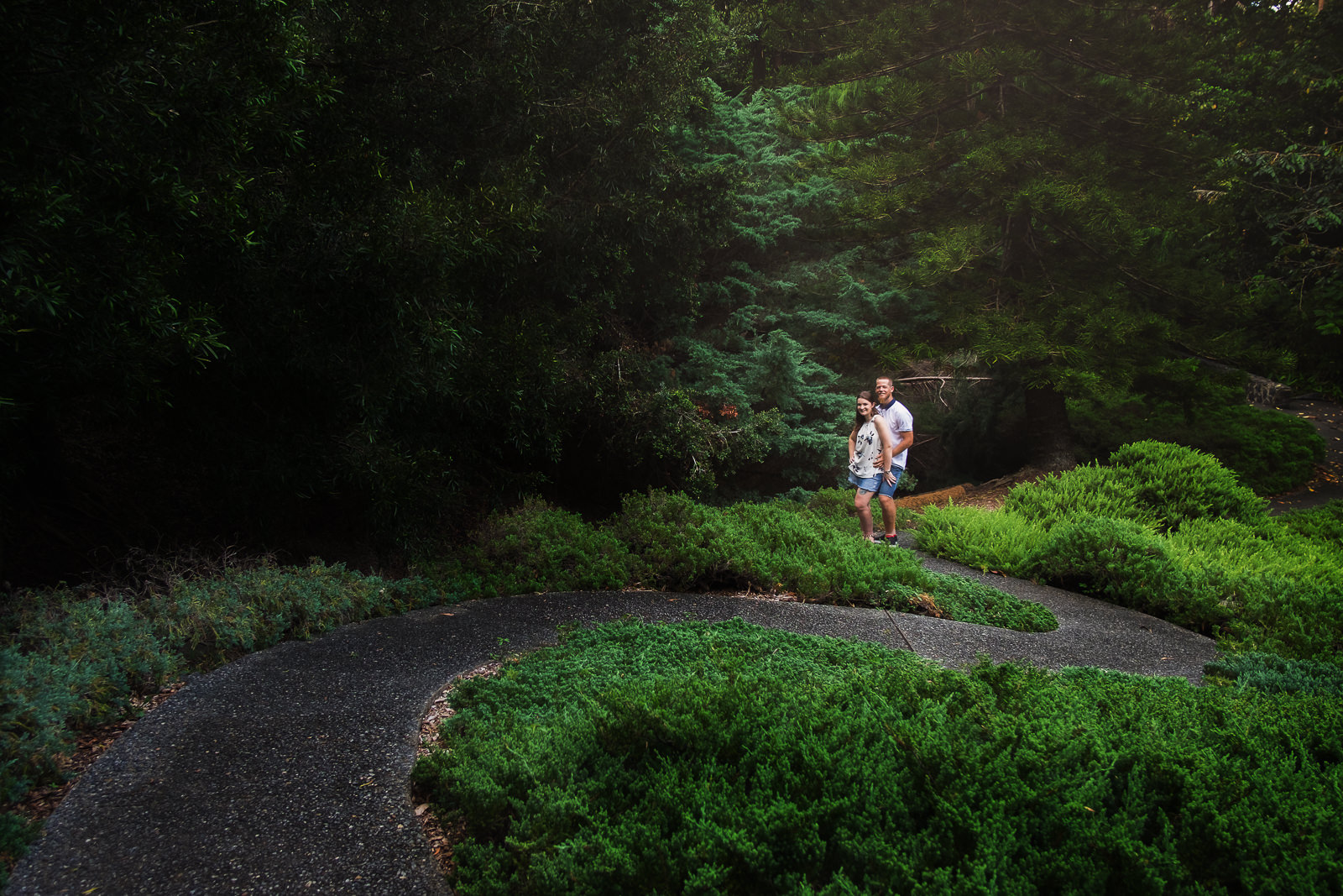 engaged couple standing at end of winding pathway through Mt Cootha Botanical Gardens