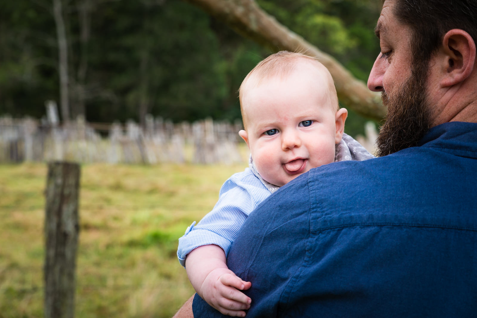 baby boy looking over dads shoulder during family photo session as beerwah