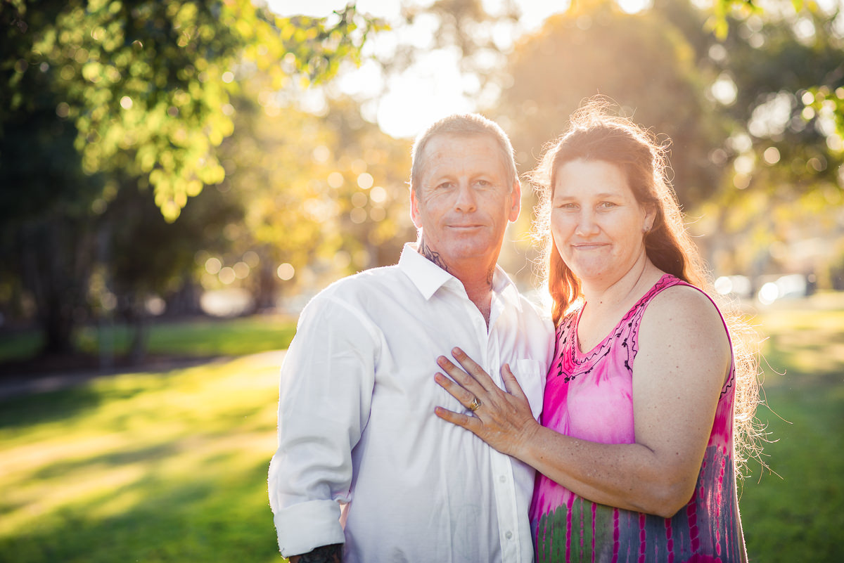 Centenary Lake Caboolture, couples protrait with backlit afternoon sunlight