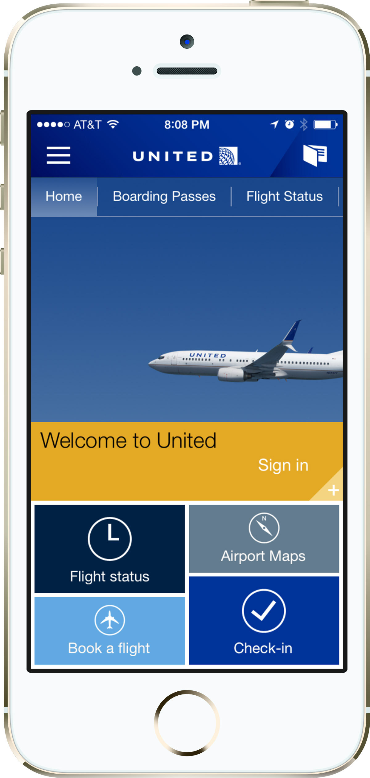 Apple iPhone 5s / United Airlines mobile app