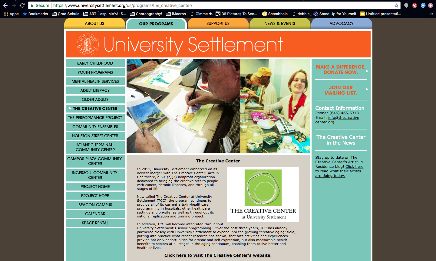 University Settlement website 'Our Programs' page. The clients were concerned that the site had too many links, outdated content, and was confusing for their target users: recipients of the Settlement's services and prospective donors.