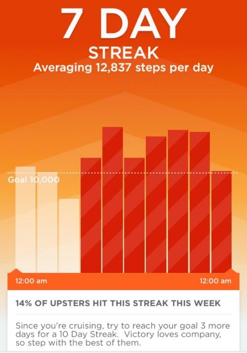 Screenshot from my UPappshowing my 7 Day streak.