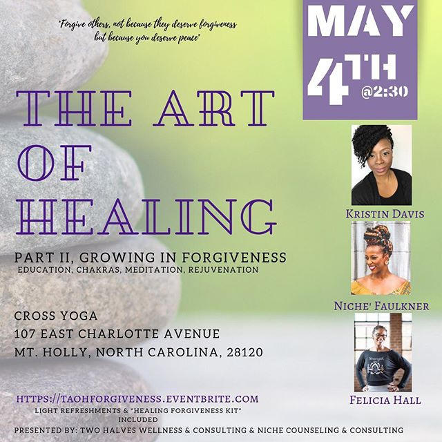 "Rest, self-care and healing are so important. When you take the time to replenish your spirit, it allows you the opportunity to find balance and restore what has been emptied and in some cases loss. Healing can be defined as ""the process of making or becoming sound or healthy again."" This workshop is focused on giving and teaching tools that can help in the process of healing through forgiveness, the use of essential oils to help align your chakras and the incorporation of self-care practices. The workshop is split into 3 segments! ⁣ ⁣ Space is limited! Find information on workshop segments in the bio link.⁣ ⁣#charlottewellness #wellnesswednesday #thenichelife #yoga #mentalhealthawareness #selflove #womensempowerment #selfcare #meditation #chakrahealing #charlottenc #charlottencevents #queencity #love #forgiveness #southend #steelecreek #mtholly #gastonianc #charlottesgotalot"