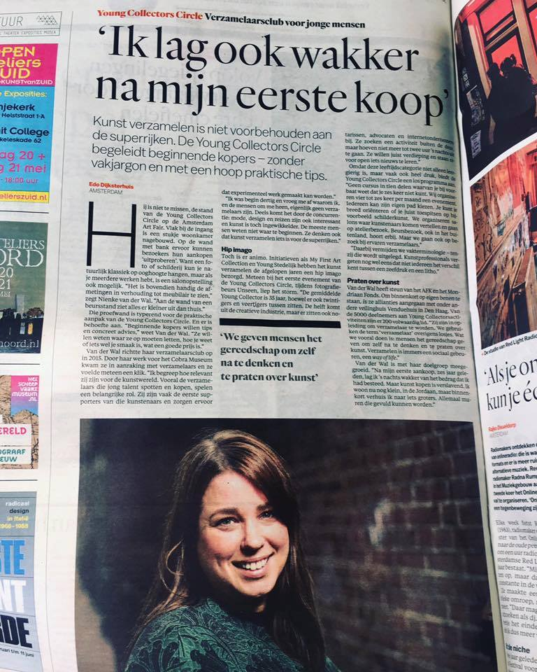 Nienke van der Wal, profiled in newspaper Het Parool, the day before the Amsterdam Art Fair 2017 opened its doors