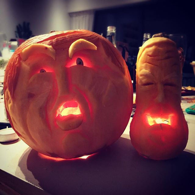 Didn't take much to hollow out these #trumpandfarage #hallowheads