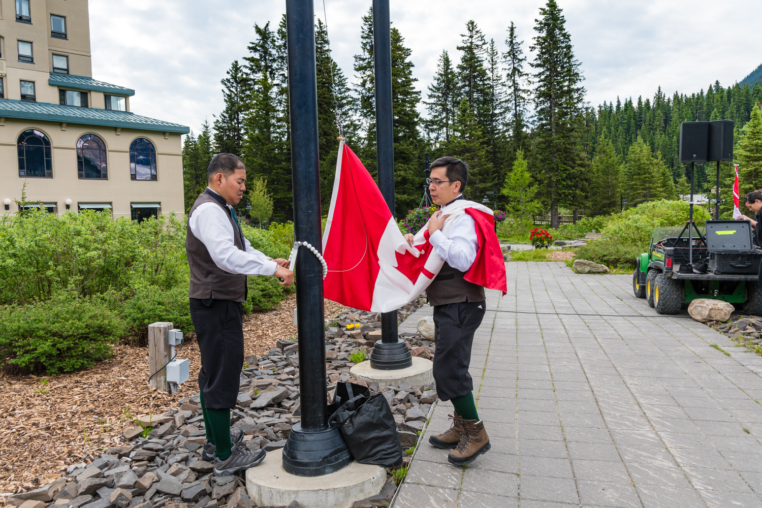 Preparing to raise the Canadian flag.  Quite an honour to be fair.  This was the second of the Canada day activities at Lake Louise.