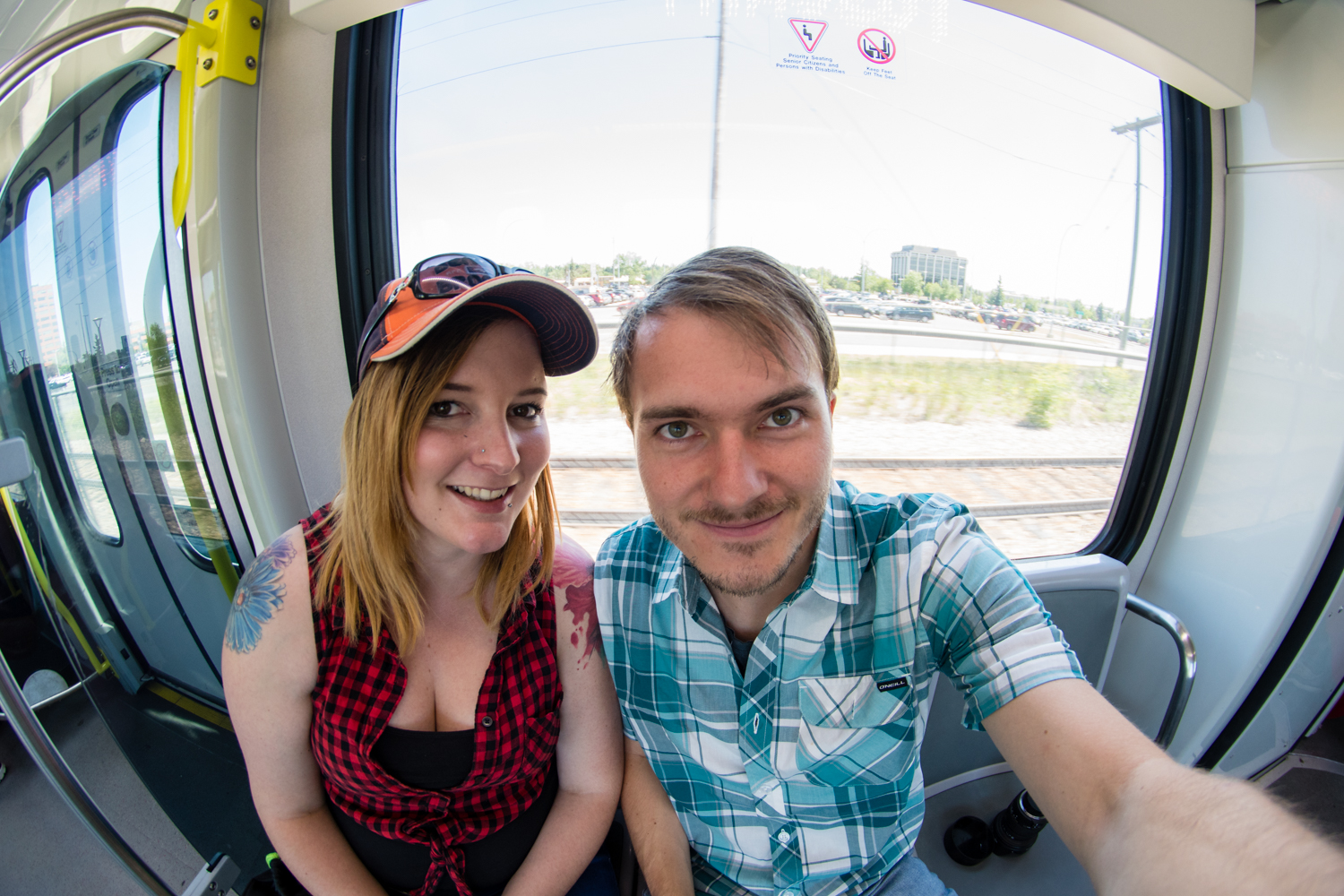 Self portrait with Erika on the way to the stampede. She had kitted me out with a plaid shirt so I could fully embrace the country lifestyle, and to not look like an absolute tourist.