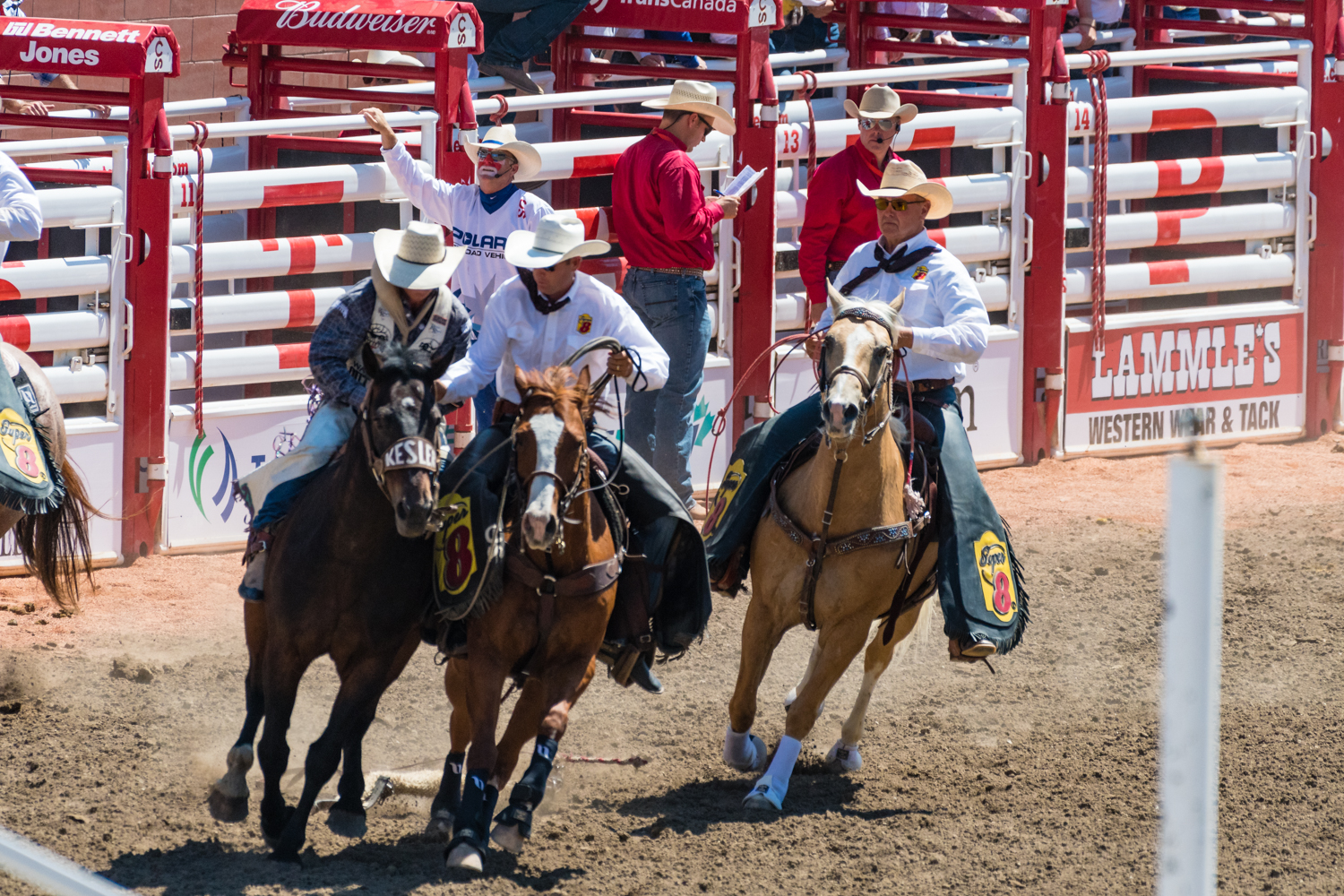 """The rodeos weren't a """"stay on a long as possible"""" event. Most rodeos only lasted around 7 seconds before the klaxon was sounded. If the cowboy was still on the horse at the end other mounted cowboys would surround the horse and regain control."""