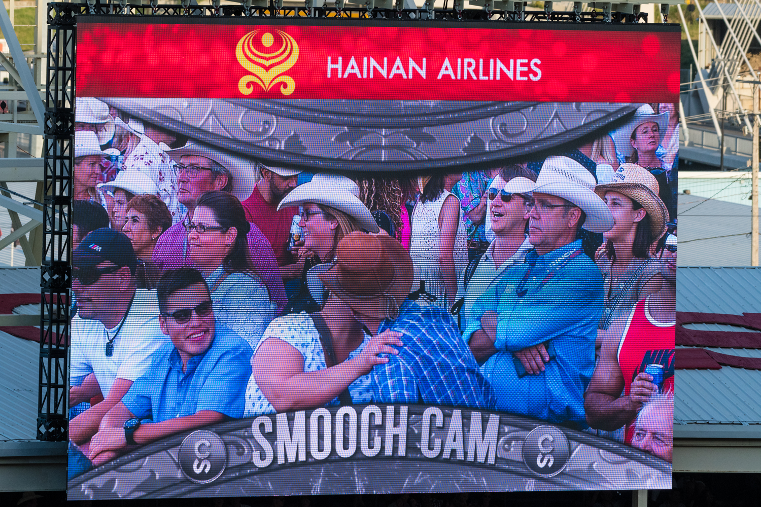Kiss cam, something I associate very much with the North American continent.