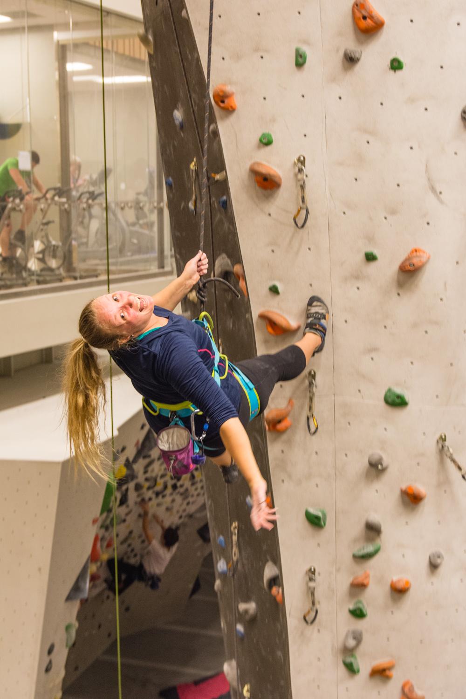Katie indoor climbing. The auto belay machines were terrifying.