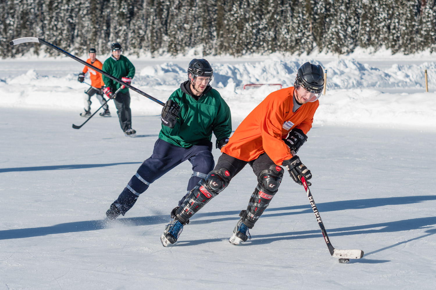 Ice hockey is fast paced and very physical. Somewhat of a contrast to the calm and fragile icy backdrop.