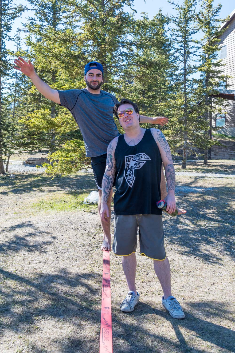 The slack line, a great summer activity.