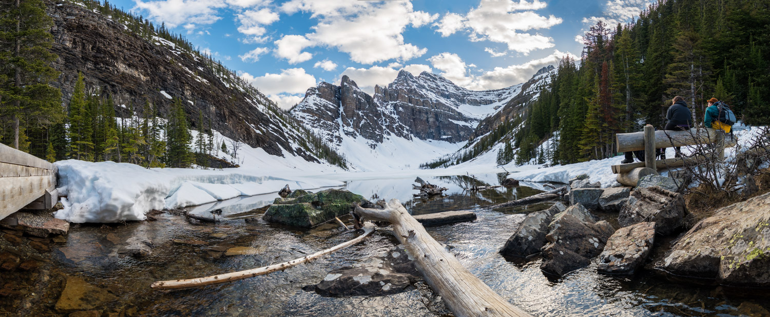 Lake Agnes during the spring. Most hikes are out of bounds due to avalanche risks, but this hike was accessible.