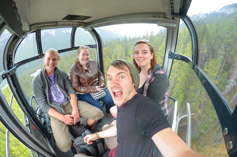 Taking the Banff gondola down from Sulphur Mountain.