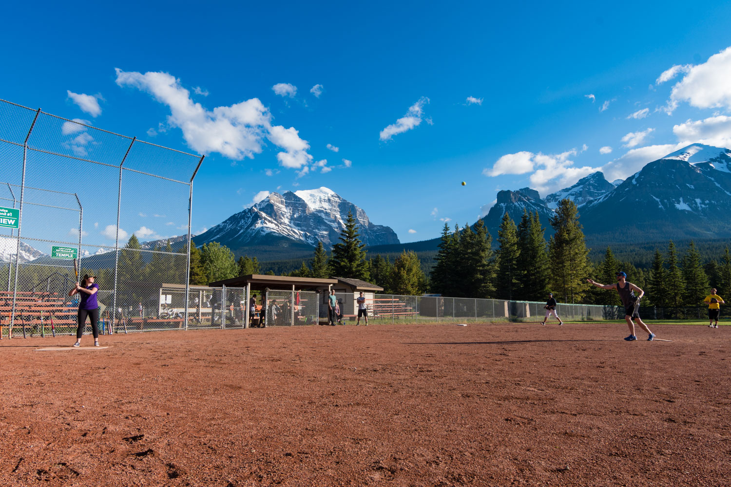 A very picturesque place to hold a softball tournament. Maybe the highest softball tournament in the world?