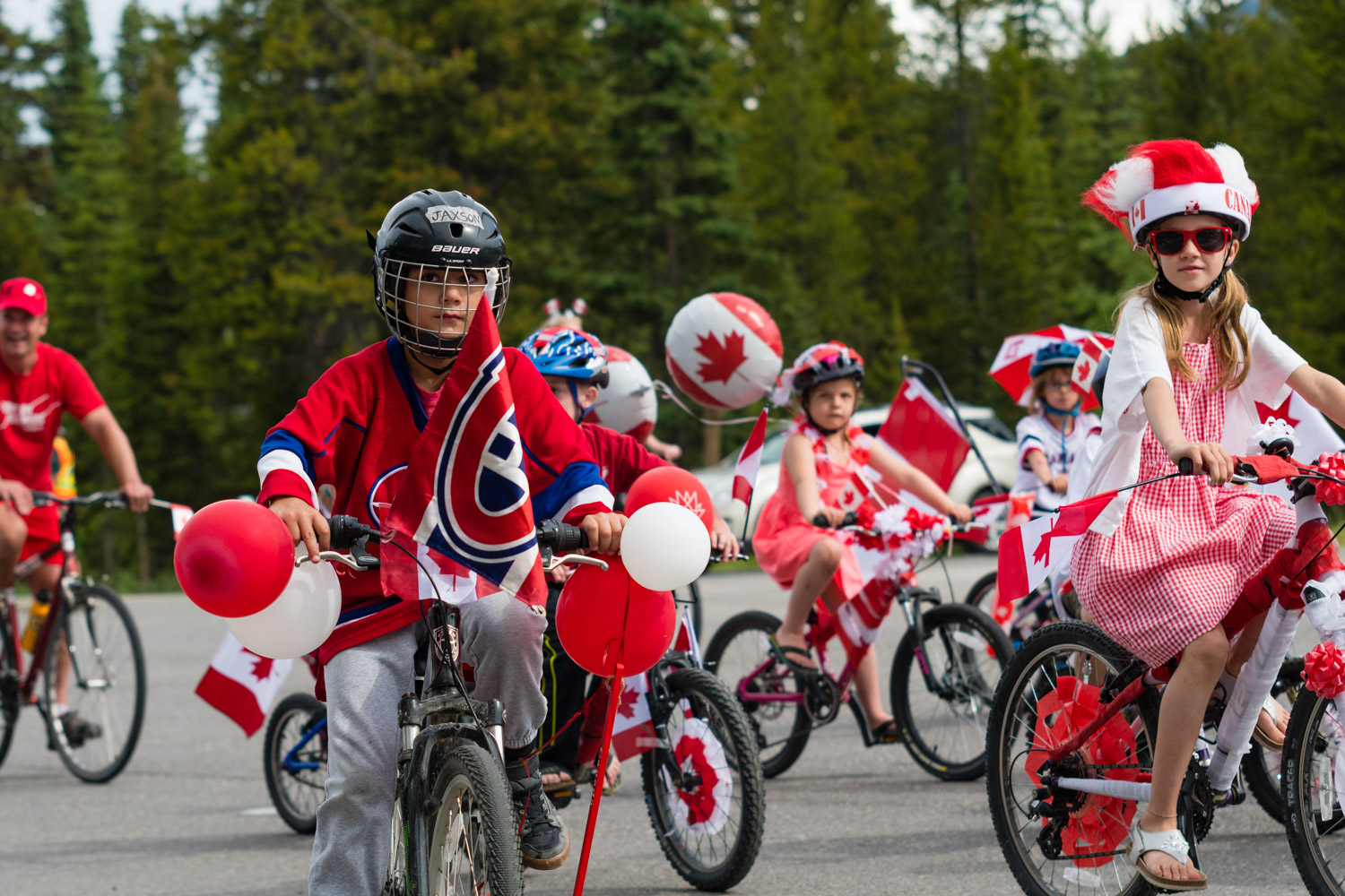 A small parade for Canada day.