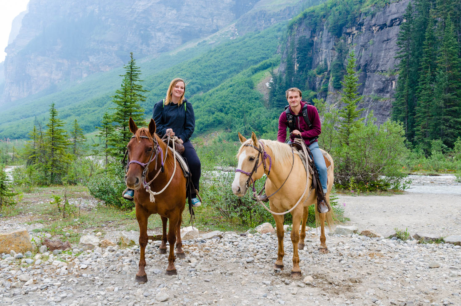 Erika and I ride some horses to the back of Lake Louise.Not quite as dramatic as The Stampede.