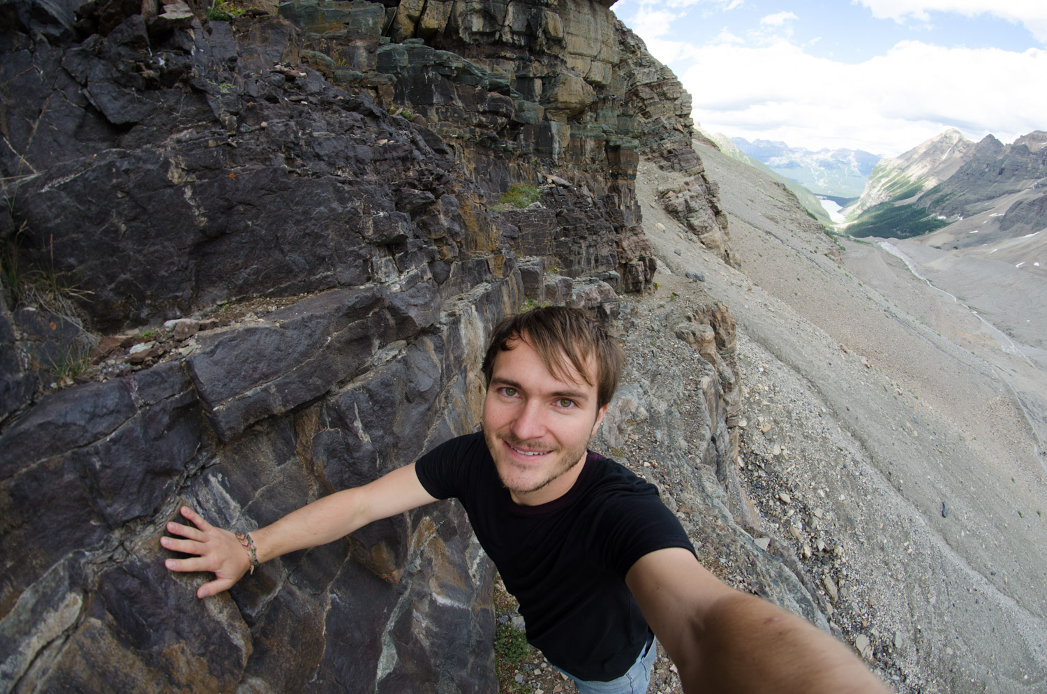 At the very back of P6, I scrambled up a hill and traversed a narrow ledge. All for a terrified selfie.