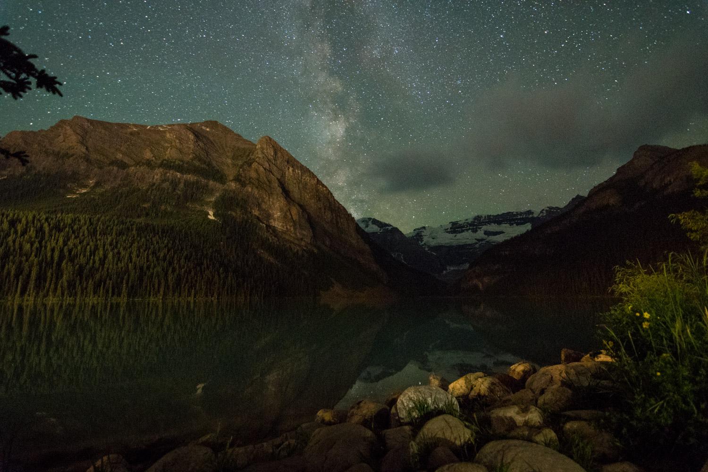 Lake Louise at night.