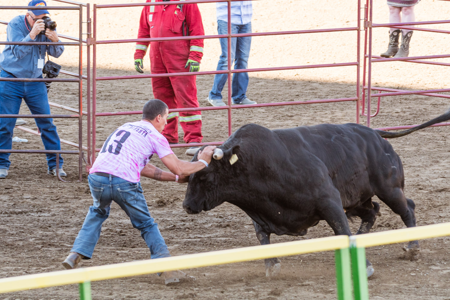 The bull run, imagine dodge ball but with a few angry bulls instead of balls. The idea was to remain in the circuit for as long as possible without being completely taken out by a bull.