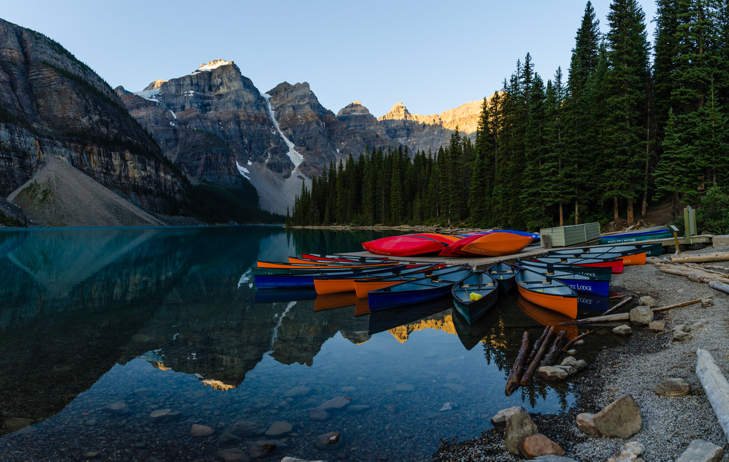 The famous Moraine Lake, at the start of our hike of Mount Temple.