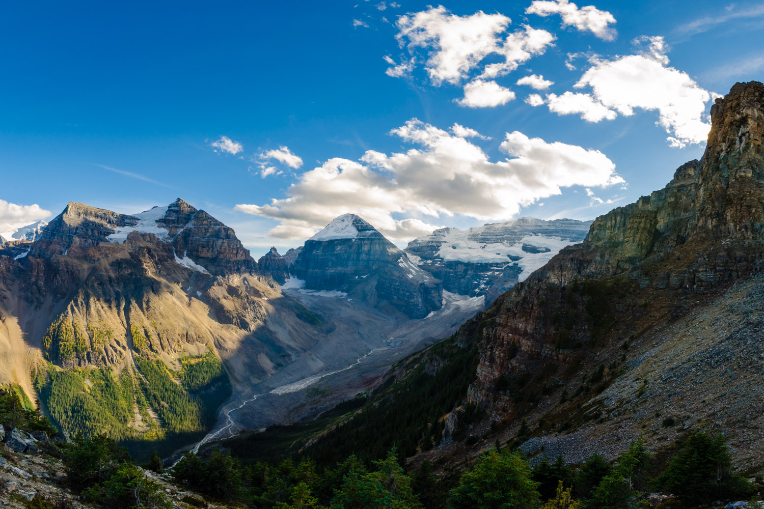 At the top of Devil's Thumb, looking down over the Plain of Six Glaciers.