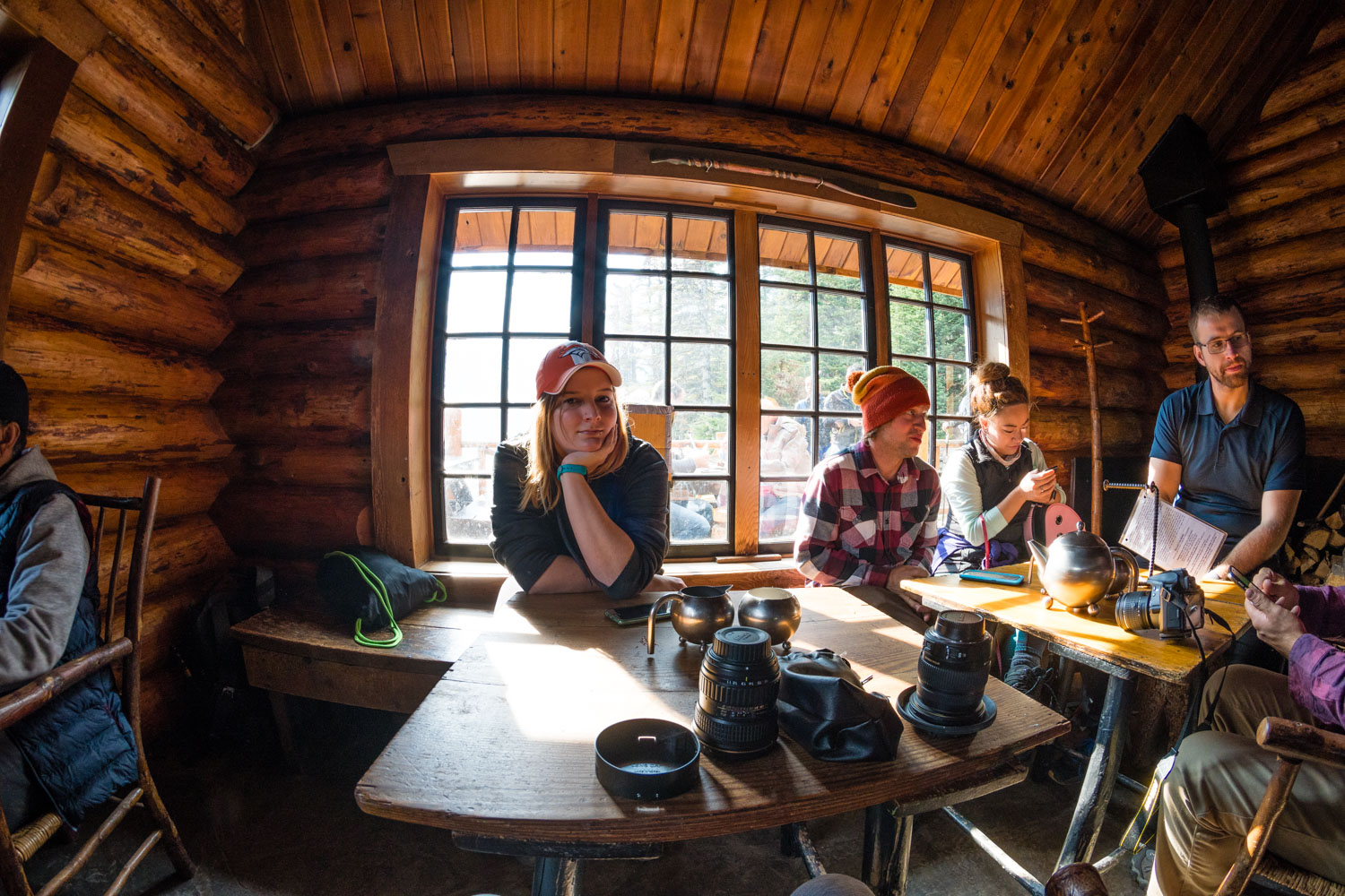 Erika looking impressed with me whilst I play with my lenses, whilst we have tea in the Lake Agnes Teahouse.