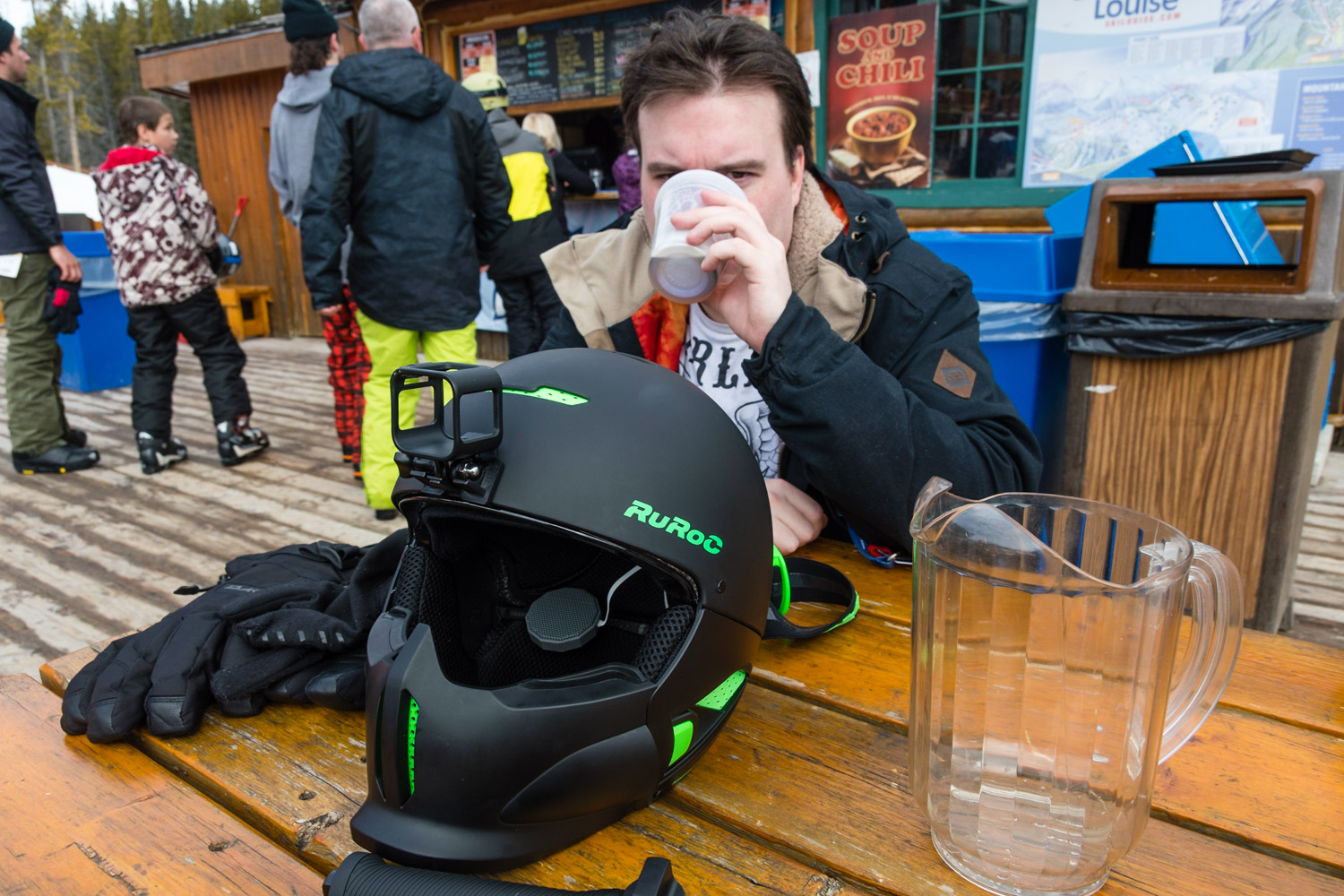A bit of alcohol half way through a snowboarding day is just what you need.