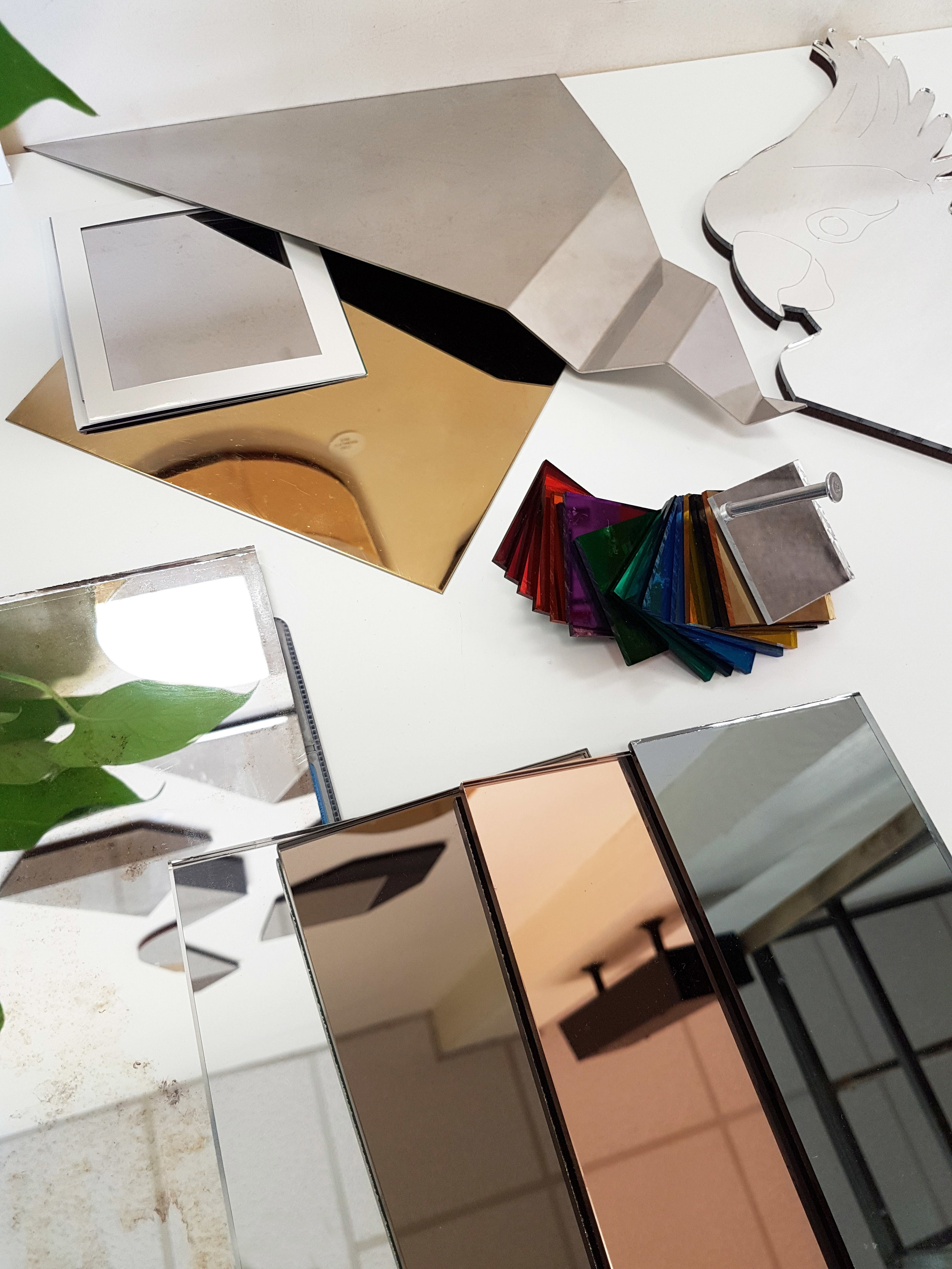 DELICIOUS MATERIAL SAMPLES - Material samples to choose from for glass, metal or acrylic mirrors. We specialise in precision folding, laser cutting and bespoke hand made glass mirrors.