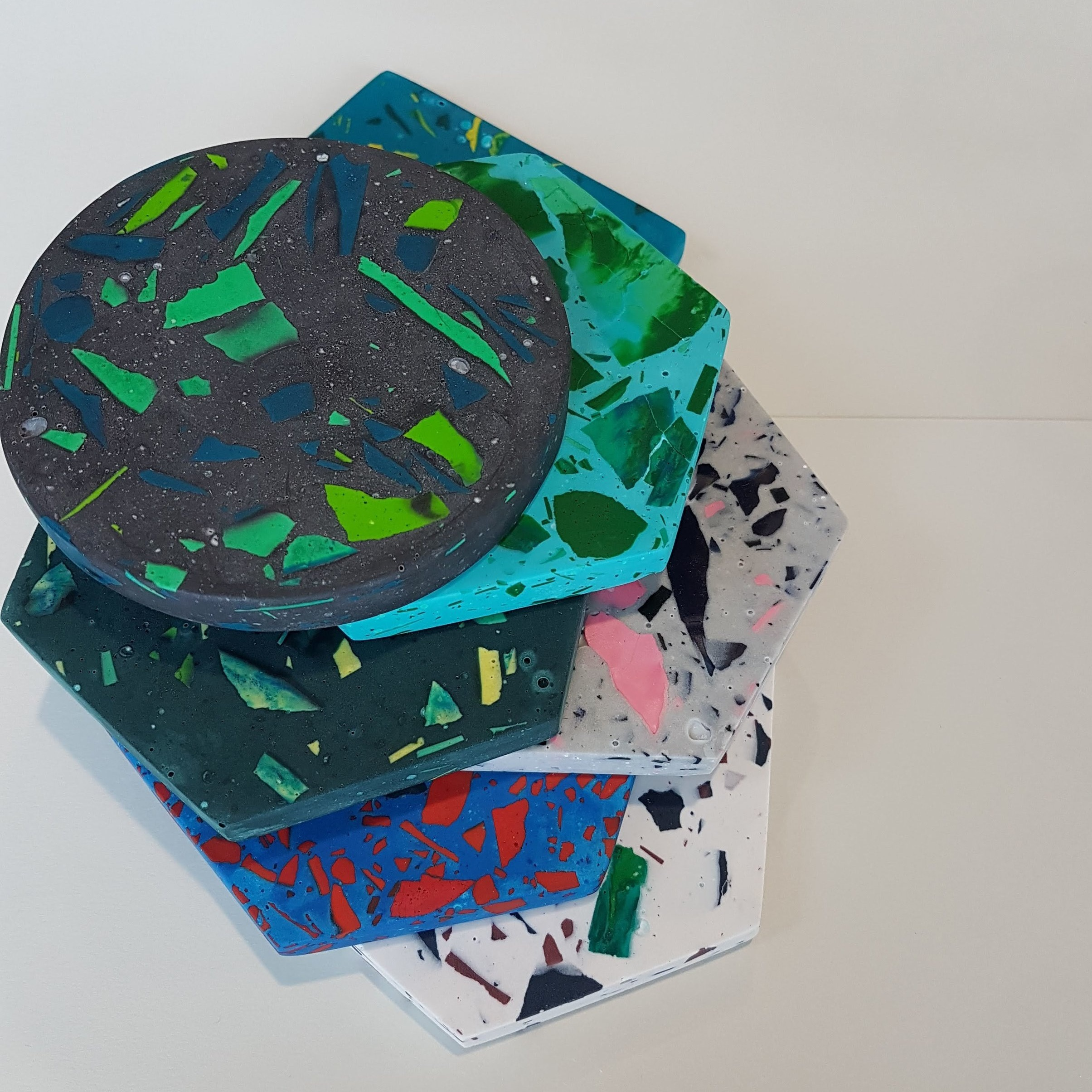 Jesmonite terrazzo Coasters Haidee Drew