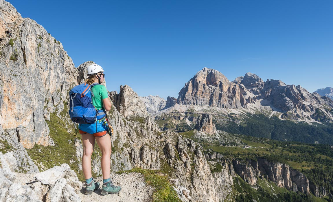 At the start of Via Ferrata Nuvolau, in the back Mount Tofane