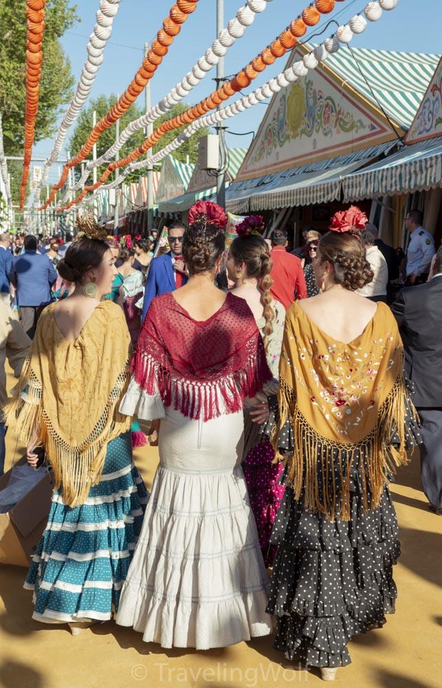 Women weraing Flamenco dresses at the Feria