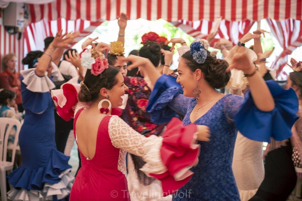 Women dancing Sevillana in a Caseta