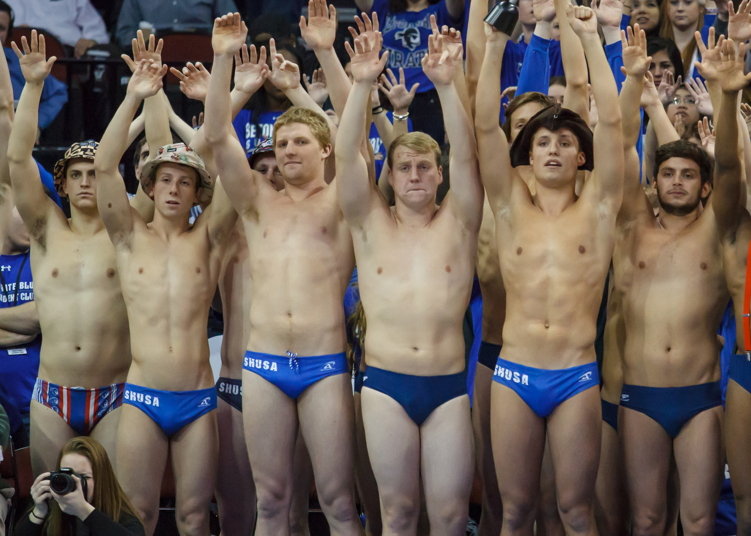 Seton Hall fans showing their school spirit.