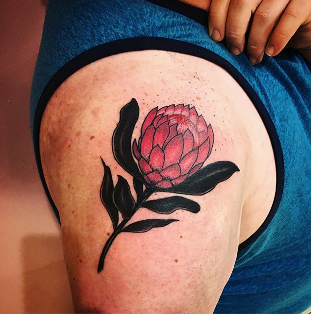 Protea flower by @ladybonestattoo