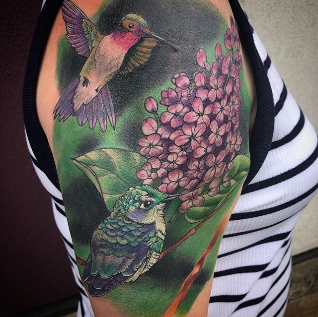 Got to finish up this half sleeve for my good friend Jen. Thanks for looking! #3rdhearttattoo #ryanboomhower_tattoo #colorhalfsleeve #floraltattoo #birdtattoo #hummingbirdtattoo