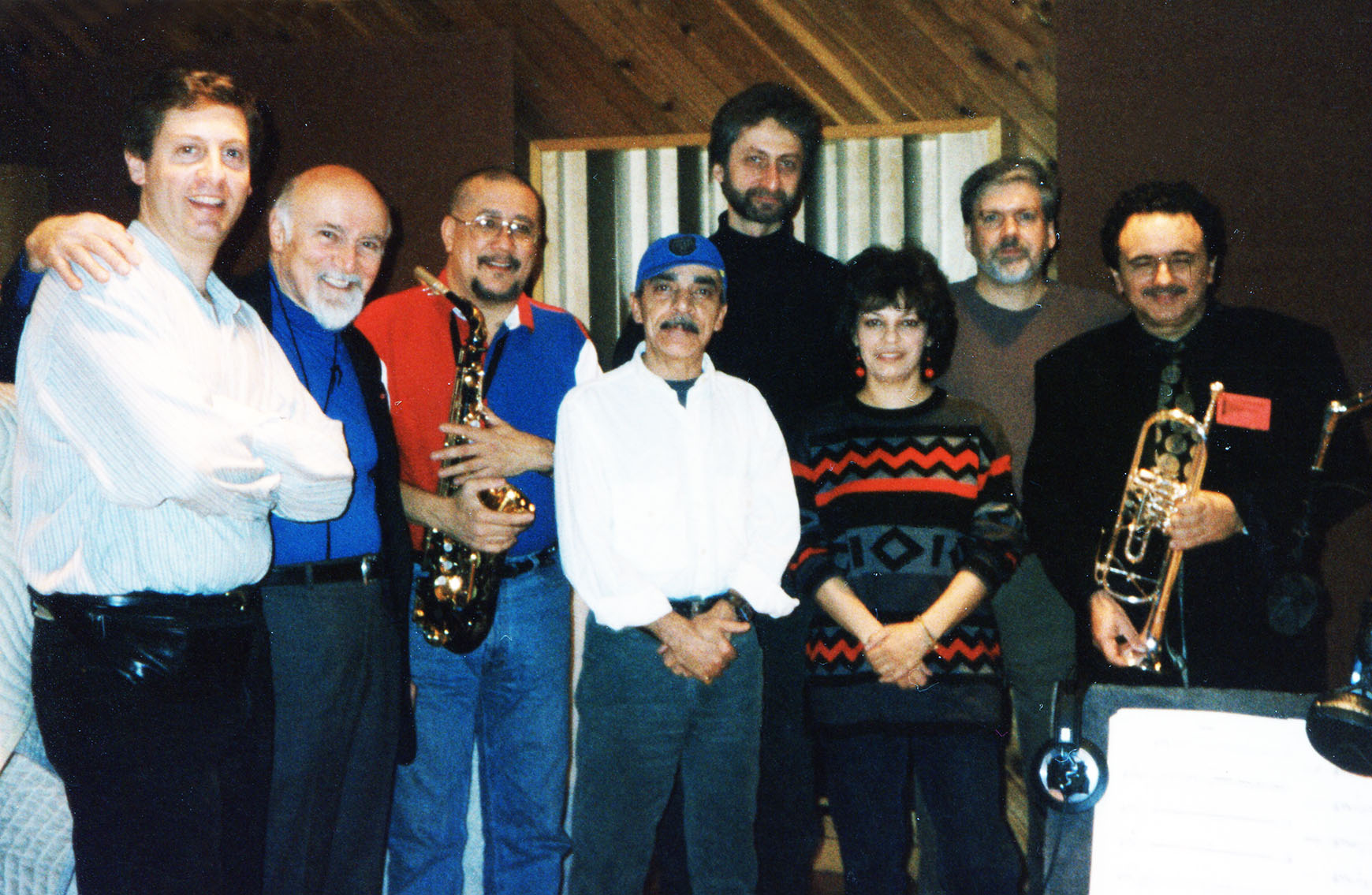 "Datevik in the studio with her team recording ""Listen to My Heart""."