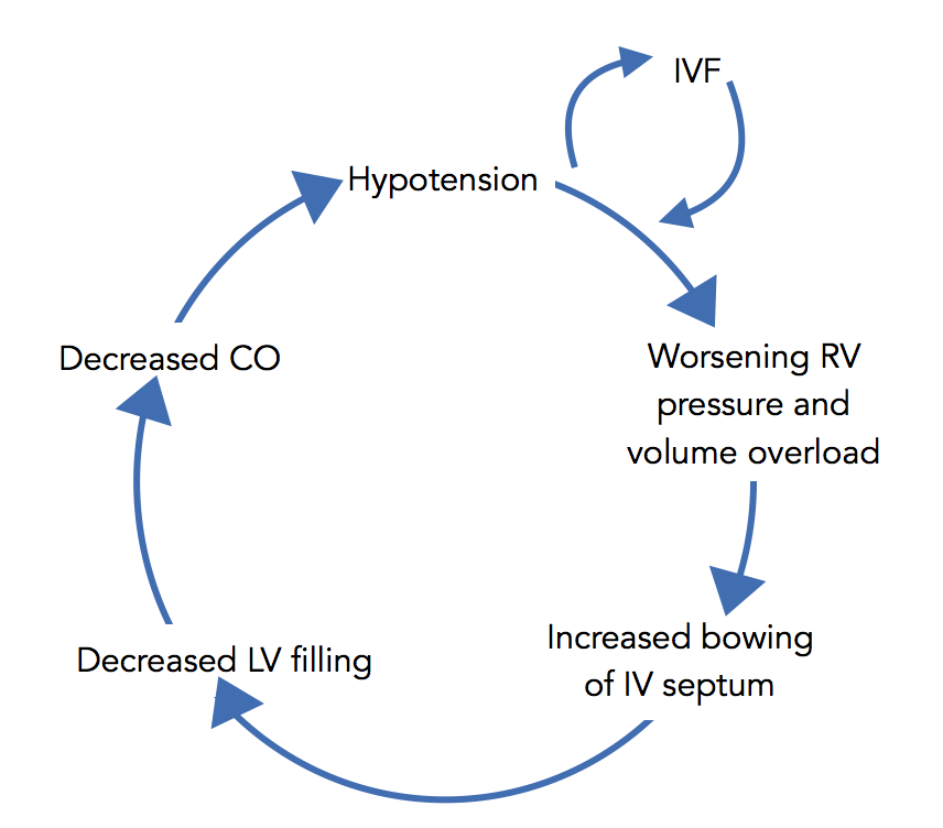 Figure 3 Cycle of iatrogenic decompensation in acute right heart failure with liberal use of IVFs