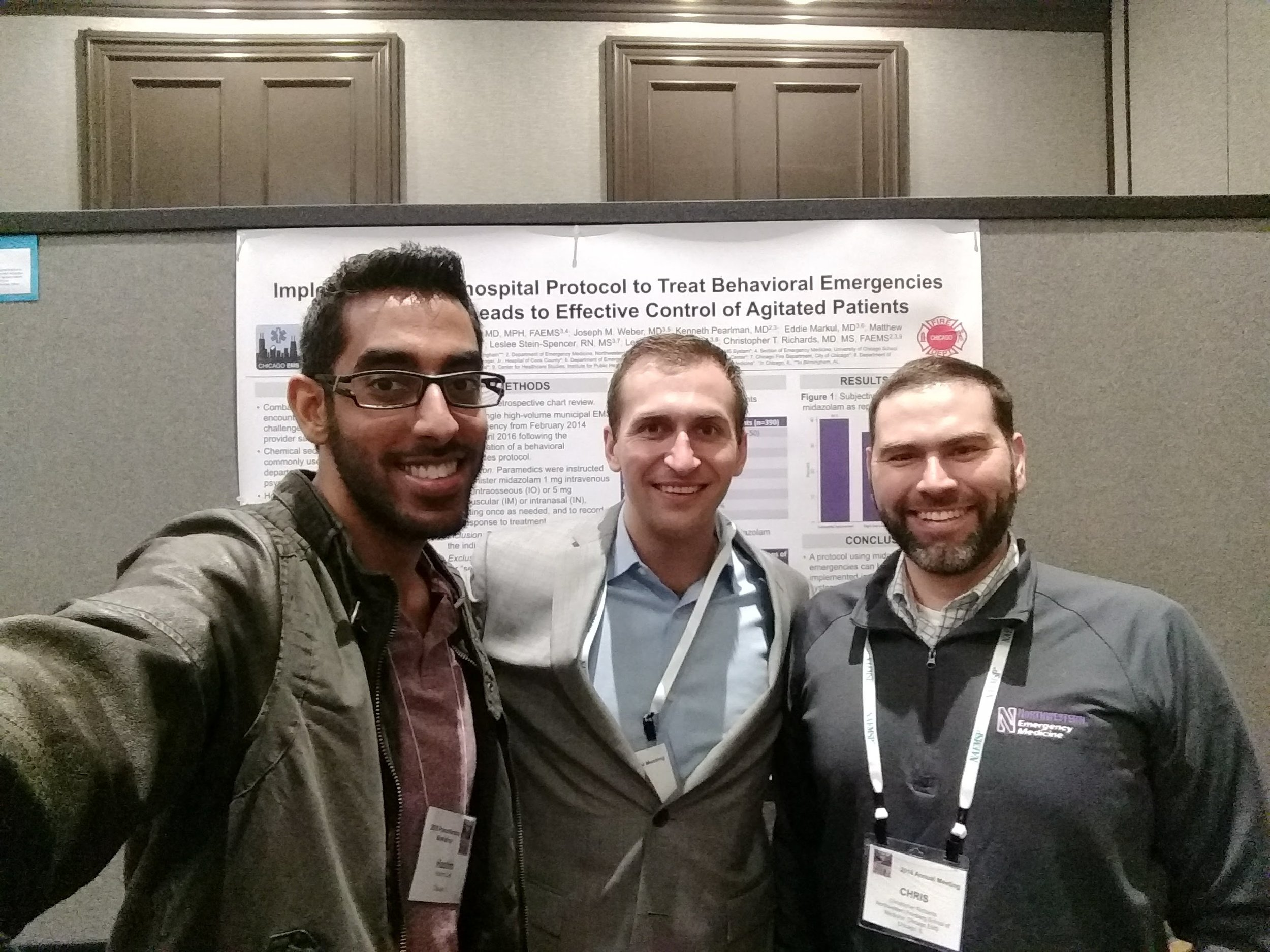 PGY3 Hashim Zaidi, MD with NUEM Alum Ryan Huebinger, MD (c/o 2017) and NUEM faculty member Chris Richards, MD, MS at NAEMSP 2018.