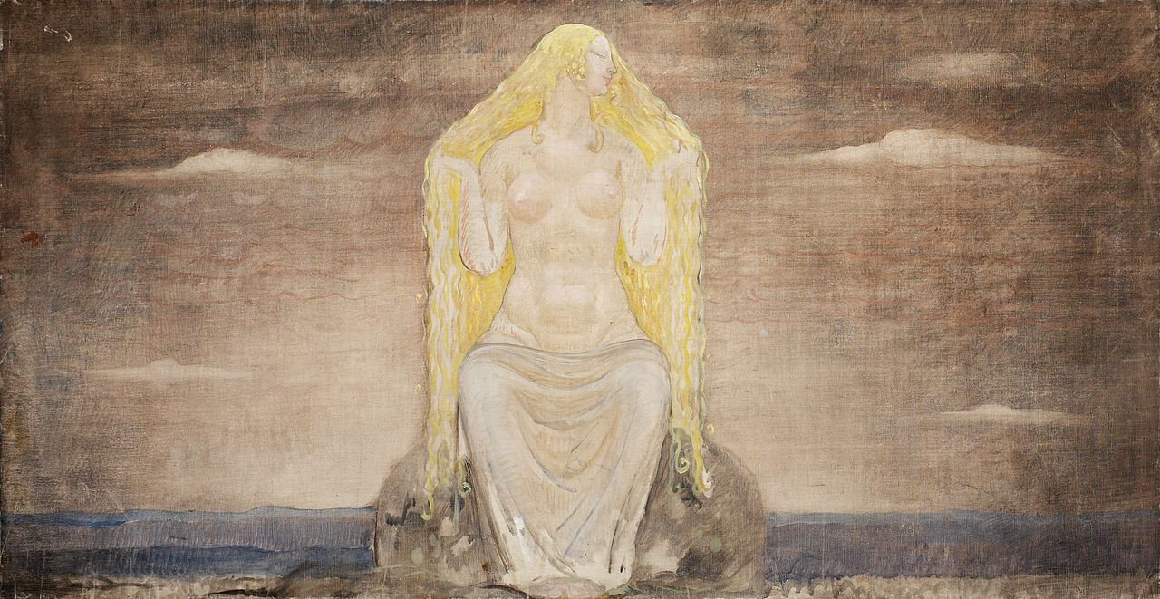 The North Germanic goddess Freyja as depicted in  Freja  by Swedish artist John Bauer, 1905
