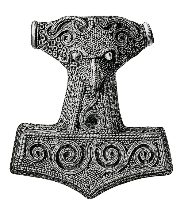 An illustration of a historical Hammer of Thor, worn as a pendant by North Germanic pagans during the Viking Age.  Image via Wikimedia Commons .
