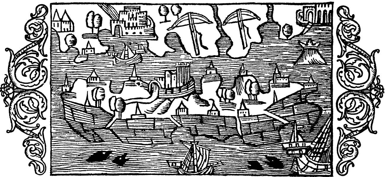 An illustration of the Swedish island of Öland and some of its neighboring shores from Olaus Magnus's  Historia de gentiles septentrionalibus  (1555). To the top right of the island is a small island with a crown upon it, representing Blå Jungfrun.