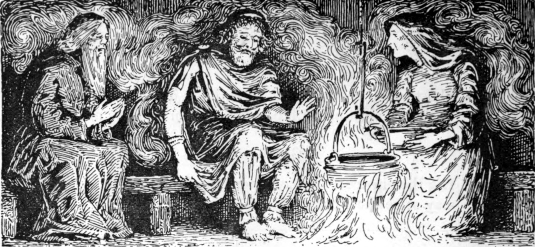 A 1908 illustration by W. G. Collingwood from the  Poetic Edda  poem   Rígsþula  , in which the enigmatic god  Heimsdallr  visits an elderly man and woman. After he sleeps between them, the elderly woman is pregnant with the embodiment of a social class,  Þræll  ('slave, serf, thrall').  Image via Wikimedia Commons .