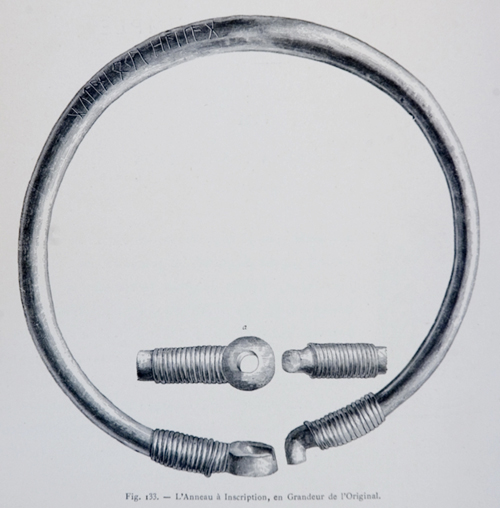 An 1875 illustration by Henric Trenk of perhaps the most famous find regarding the Goths, the  Ring of Pietroassa . The ring was found in what is now Romania in 1875.  Image via Wikimedia Commons .