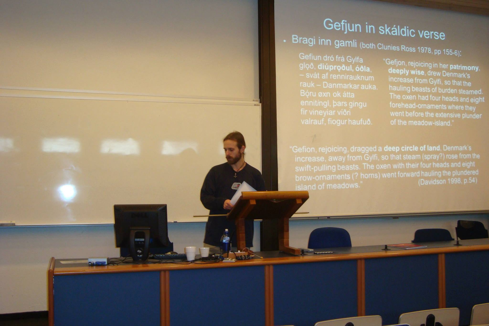 Kevin French presenting at the 2014 Háskóli Íslands student conference. Photographer Unknown.