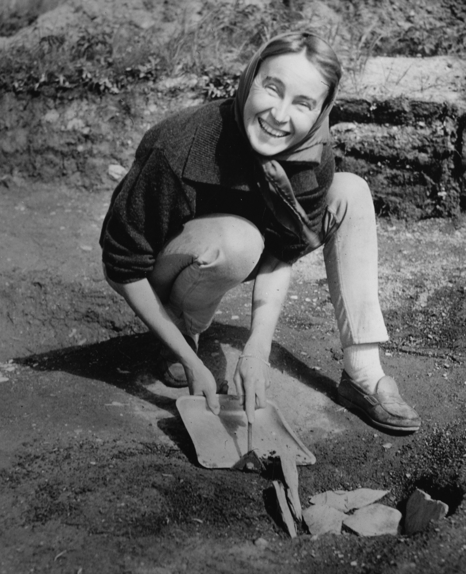 Norwegian archaeologist  Anne Stine Ingstad  at L'anse aux Meadows in 1963.  A team of archaeologists led by Ingstad discovered the only confirmed Viking Age site in North America so far, L'anse aux Meadows.  Image: Smithsonian Institute .